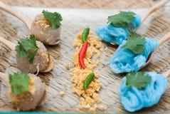 西米猪肉、泰国点心和开胃菜 免版税库存照片