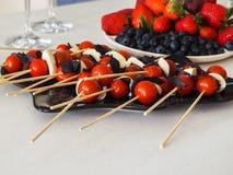 西红柿、无盐干酪和蓬蒿在串 免版税库存图片