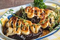 西红柿原料、肉和葱,茄子特写镜头用在盘的调味汁 库存照片