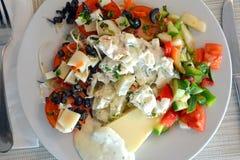 西红柿原料用乳酪和蓬蒿 健康面筋释放食物 免版税库存图片