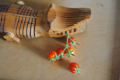 西红柿小树枝在一张木桌上的不顾一条装饰木鳄鱼 库存照片