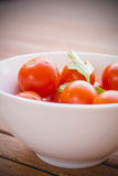 西红柿用在一个白色碗的荷兰芹 库存图片