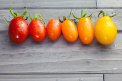 西红柿连续在木背景的颜色细微差异的 库存图片