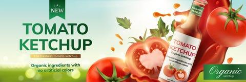 西红柿酱广告 向量例证