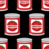 西红柿酱无缝的样式 罐头纹理 有tomat的铁罐 库存例证
