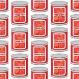 西红柿酱无缝的样式 罐头纹理 铁罐 向量例证