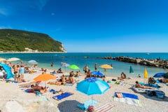 西罗洛海滩在Conero国家公园,意大利 库存图片