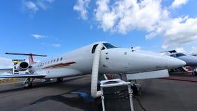巴西航空工业公司遗产600在显示的企业喷气机在新加坡Airshow 库存照片