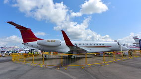 巴西航空工业公司遗产600在显示的企业喷气机在新加坡Airshow 免版税库存照片