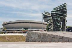 西莱亚西叛乱者纪念碑和Spodek -体育和娱乐大厅 免版税图库摄影