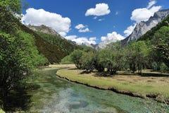 西藏与河的雪山 免版税库存照片