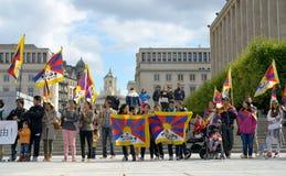 西藏人的示范 免版税库存照片