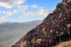 西藏人Sho在拉萨庆祝的讨债者节日 免版税库存图片