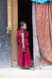 西藏佛教年轻修士在Lamayuru,拉达克,印度修道院里  库存图片
