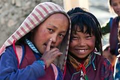西藏孩子,尼泊尔 免版税库存图片