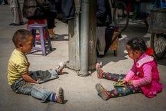 西藏孩子 免版税库存照片