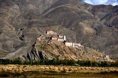 西藏宗山城堡的美丽的村庄 图库摄影