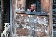 西藏男孩,尼泊尔 库存图片