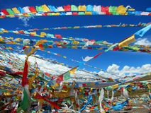西藏的祷告标志 免版税库存图片