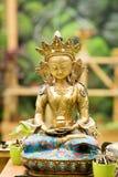 从西藏的菩萨Amitayus雕象 佛教,凝思 库存图片
