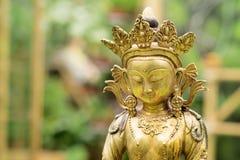 从西藏的菩萨Amitayus雕象 佛教,凝思 免版税图库摄影