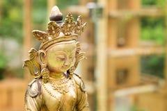 从西藏的菩萨Amitayus雕象 佛教,凝思 图库摄影