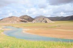 西藏的高原的离开的河 库存照片