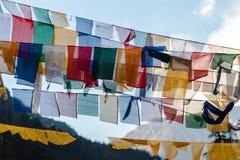 西藏祷告下垂挥动和包扎与树在sideway的一座山在有山的冻河在背景中在Thangu 库存图片