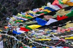 西藏祷告下垂挥动和包扎与树在sideway的一座山在有山的冻河在背景中在Thangu 图库摄影
