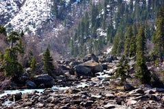 西藏雪山的Ranwu河 库存图片