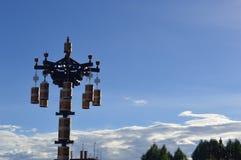 西藏风景日落祷告 免版税库存图片