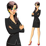 西装的一名妇女 秘书、经理、律师、会计或者干事 免版税库存图片