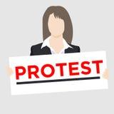 西装的抗议者有标志的 库存例证