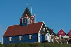 西西缪特,一个迷人的渔镇在西格陵兰 库存图片