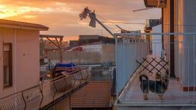 西西里人的屋顶视图在晚上 免版税库存图片
