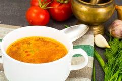 西西里人的蕃茄汤 全国意大利烹调 免版税库存图片