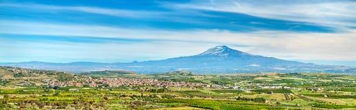 西西里岛的全景有埃特纳火山和斯科尔迪亚镇的 意大利 免版税库存照片