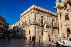 西西里岛西勒鸠斯,意大利- 2012年10月06日 Vermexio宫殿在西勒鸠斯 免版税库存图片
