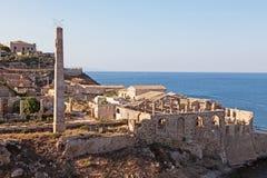 西西里岛: 品柱Passero Tonnara  库存图片
