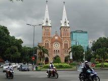 西贡巴黎圣母院大教堂在胡志明,越南 免版税库存照片