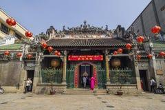 西贡,越南- 2018年2月13日- Thien Hau寺庙,正式地Ba Thien Hau塔,是一个中国式寺庙 免版税库存照片