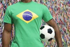 巴西足球足球运动员萨尔瓦多愿望丝带 图库摄影