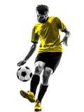 巴西足球足球运动员年轻人剪影 免版税库存照片