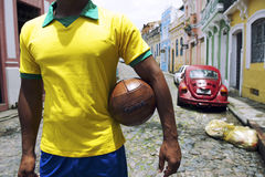 巴西足球运动员Pelourinho萨尔瓦多巴伊亚巴西街 库存图片