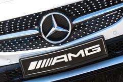 默西迪丝AMG标识牌 库存图片