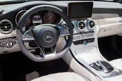默西迪丝AMG汽车内部 免版税库存图片