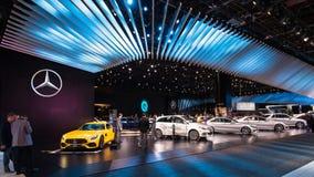 2018年默西迪丝AMG GT S和商品型号展览 免版税库存图片
