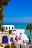 西迪布赛义德,地中海,白色蓝色阿拉伯大厦,建筑学 库存图片