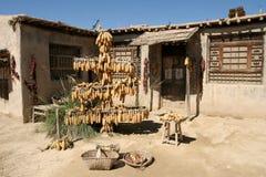 西部中国房子的村庄 库存照片