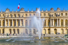 西部前面和水分配为花坛的区域,凡尔赛宫,法国 免版税库存照片